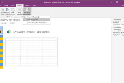 The Notebook Recycle Bin in OneNote - Tutorial: A picture of a user emptying the notebook recycle bin in OneNote 2016.