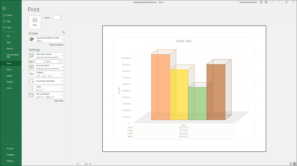 Print a Chart in Excel - Instructions and Video Lesson: A picture of a user printing a selected chart in Excel.