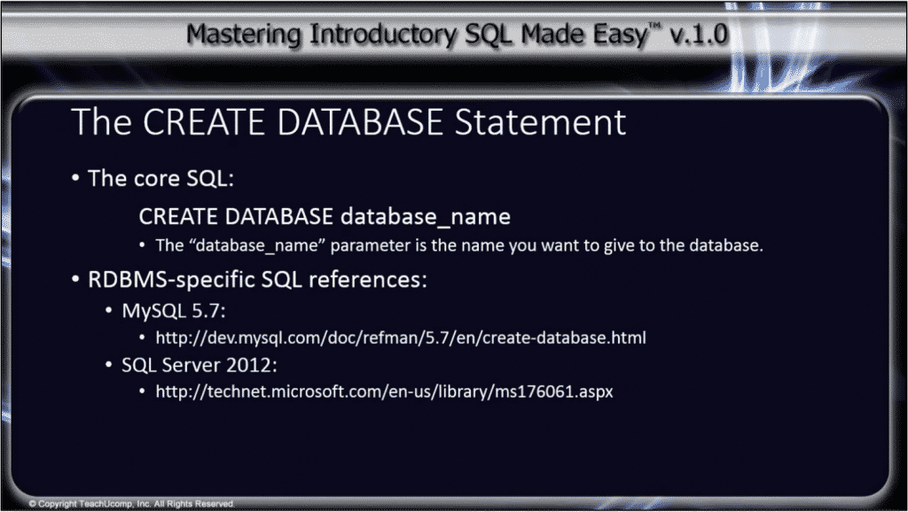 CREATE DATABASE Statement- Tutorial: A picture of the syntax used by the CREATE DATABASE statement in SQL.