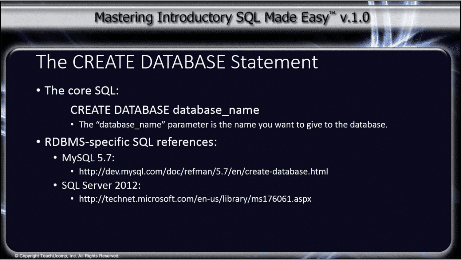 create database statement overview