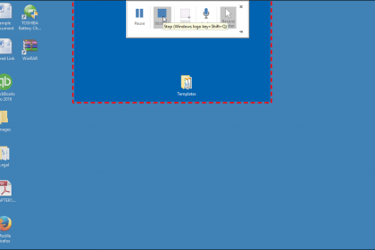 Record the Screen in PowerPoint - Tutorial: A picture of a user recording the screen using PowerPoint 2016.