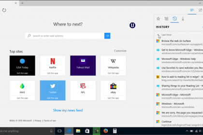 Manage Browser History in Microsoft Edge - Tutorial: A picture of the browser history shown in the Hub of Microsoft Edge in Windows 10.