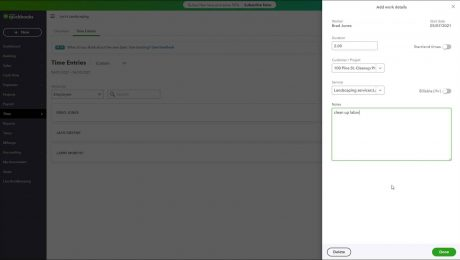 Enter Time in QuickBooks Online - Instructions: A picture of a user entering the time and work details for an employee using the basic time tracking in QuickBooks Online.