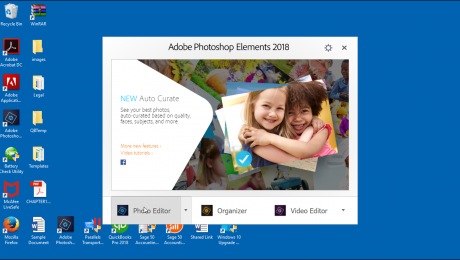 The Welcome Screen in Photoshop Elements - Instructions: A picture of the Welcome Screen that appears when you first start the Photoshop Elements program.