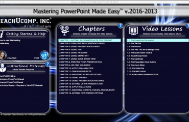 Buy PowerPoint 2016 Training: A picture of the user interface for the DVD or digital download versions of