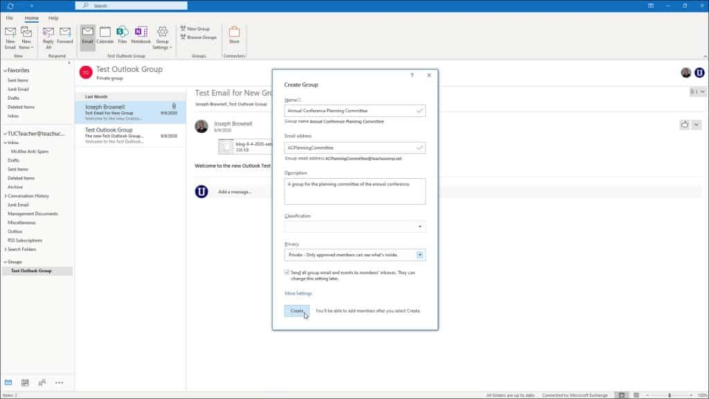 """Create a New Group in Outlook - Instructions: A picture of a user creating a new group within the """"Create Group"""" window in Outlook."""