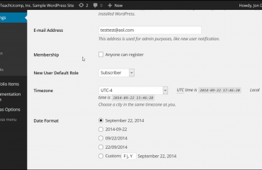 General Settings in WordPress- Tutorial: A picture of some of the settings shown within the