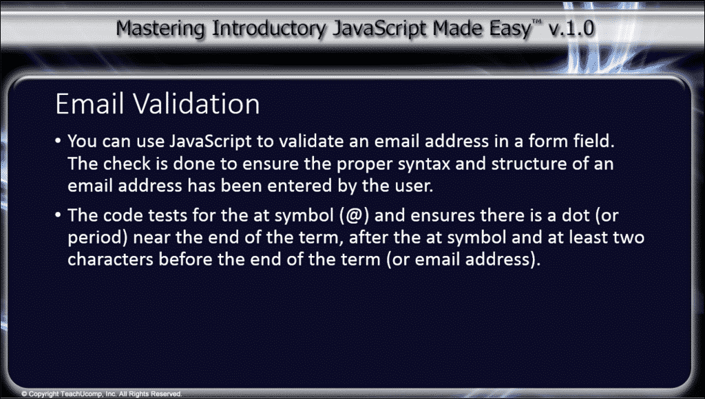 "Email Validation Using JavaScript - Tutorial: A picture of the introductory text from the ""Email Validation"" video lesson."