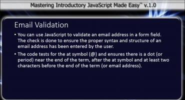 Email Validation Using JavaScript - Tutorial: A picture of the introductory text from the