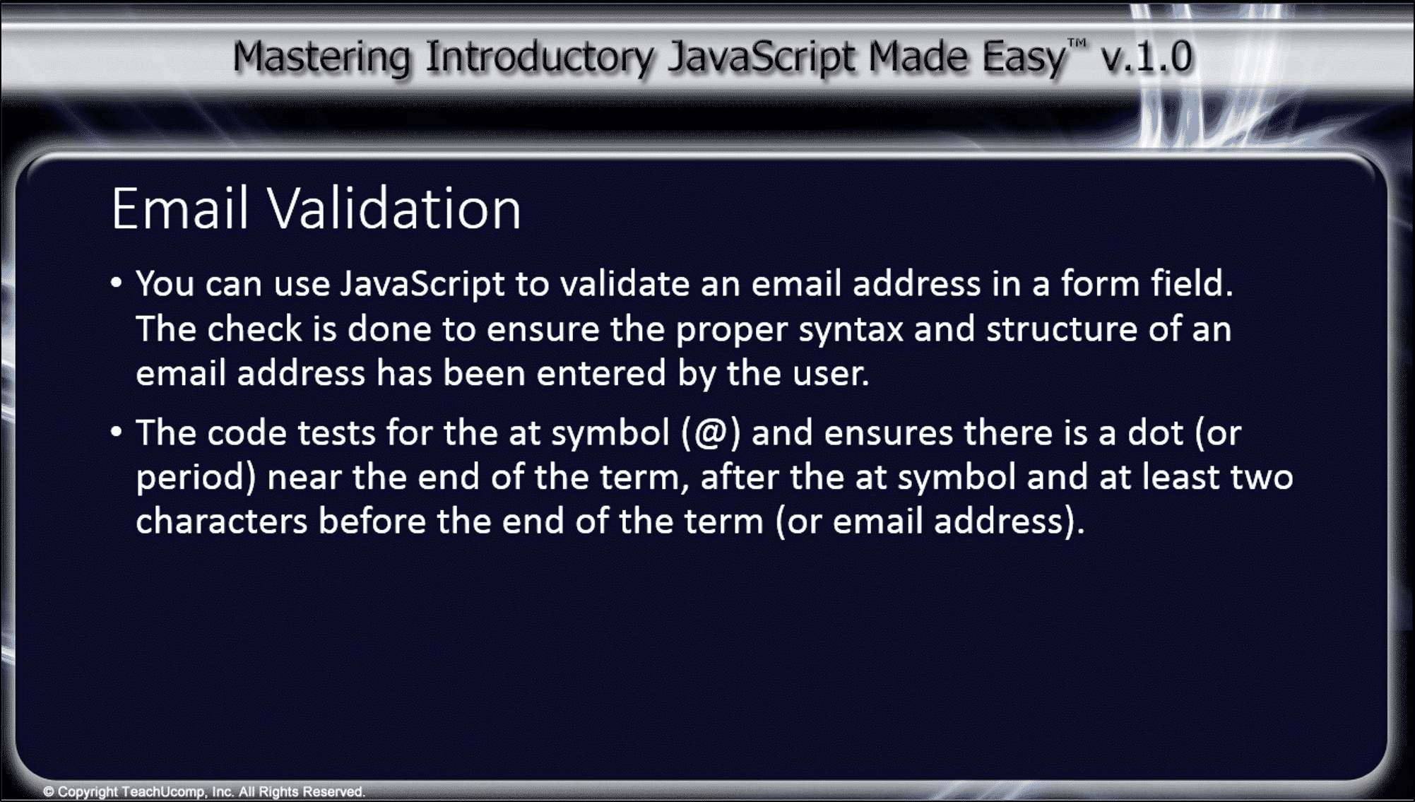 Validating email address using javascript in adobe