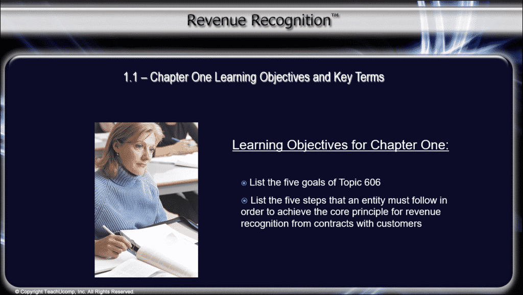 "Continuing Education for CPAs in Accounting and Auditing - News: A picture from a video lesson in the ""Revenue Recognition"" course for CPAs."