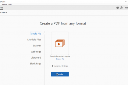 "Create a PDF from a File in Acrobat Pro DC - Instructions: A picture of a user about to convert a selected file into a PDF within the ""Create PDF"" screen in Acrobat Pro DC."
