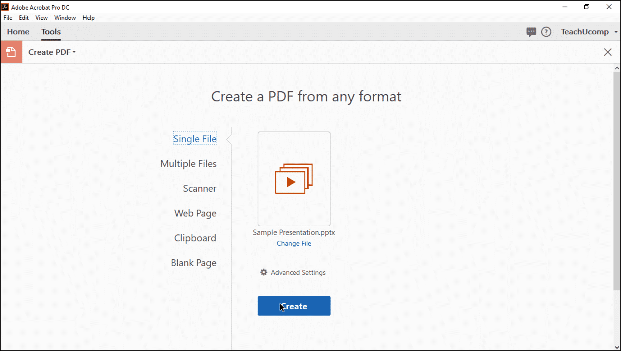 create a pdf from a file in acrobat pro dc instructions