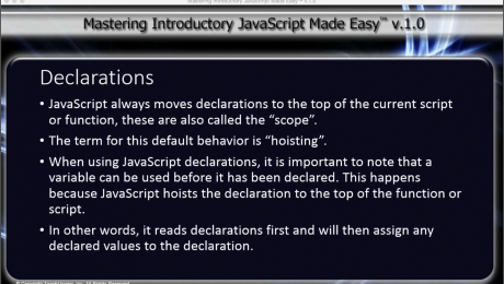 Declaration Hoisting in JavaScript- Tutorial: A picture summarizing the main points of the lesson on declaration hoisting in JavaScript.