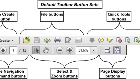 Customizing Toolbars in Acrobat XI Pro. A picture of the default toolbar button sets in Adobe Acrobat XI Pro. The sections in the top toolbar, from left to right, are: The Create button, the File buttons, and the Quick Tools buttons. The sections in the bottom toolbar, from left to right, are: the Page Navigation command buttons, the Select and Zoom buttons, and the Page Display buttons.
