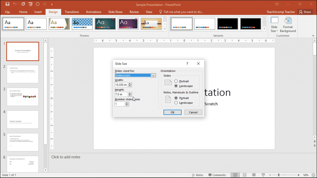 "Change the Size of Slides in PowerPoint - Instructions: A picture of the ""Slide Size"" dialog box in PowerPoint."