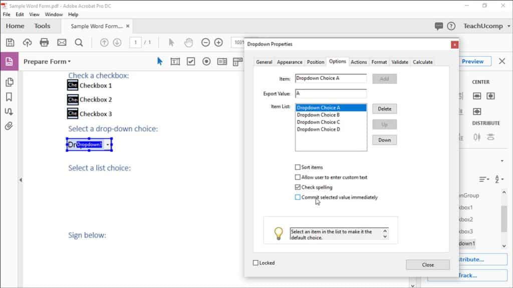 Create a Dropdown or List Box in Acrobat Pro DC - Instructions: A picture of a user creating list items for a dropdown in Acrobat Pro DC.