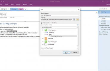 Create Links in Notebooks in OneNote - Tutorial: A picture of a user creating a link in OneNote 2016 by using the