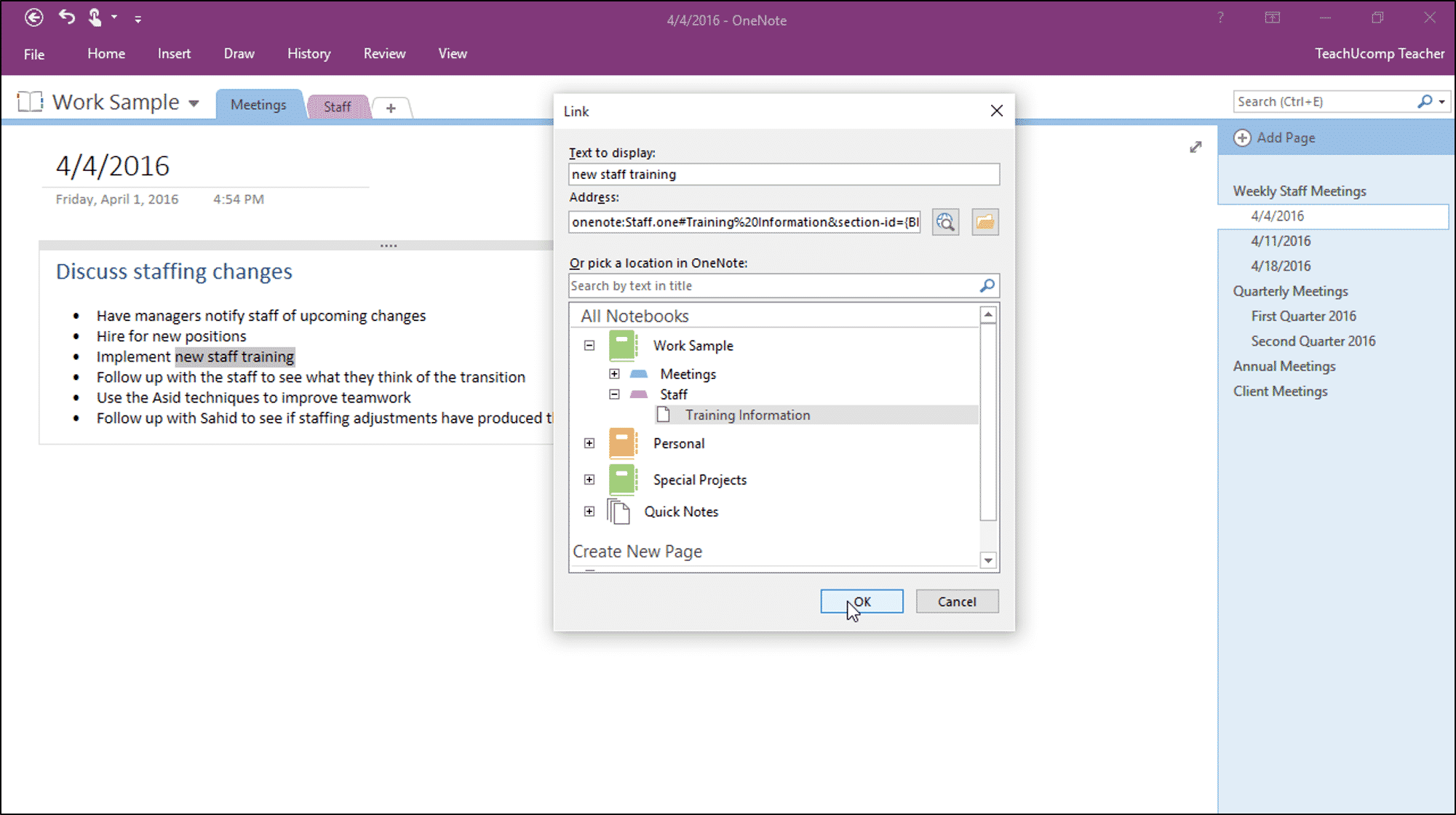 create links in notebooks in onenote - tutorial - teachucomp, inc.