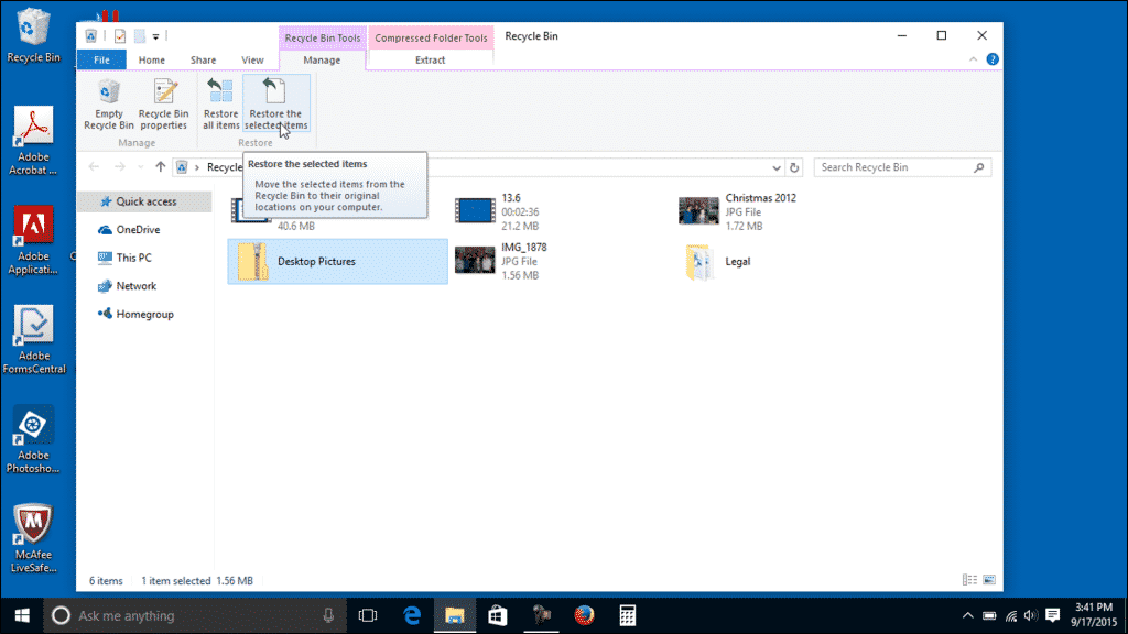 Restore a Deleted File from the Recycle Bin in Windows 10 - Instructions: A picture of a user restoring a deleted file from the Recycle Bin in Windows 10.