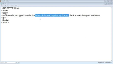 A picture of the HTML entity you use to create blank space in paragraph text in HTML code.