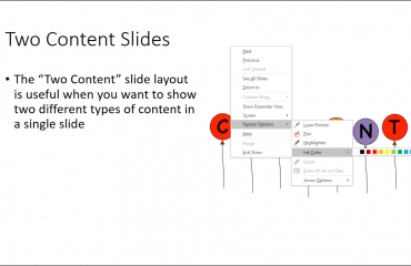 Slide Show View in PowerPoint - Tutorial: A user choosing an annotation ink color from the popup menu in Slide Show view in PowerPoint 2016.