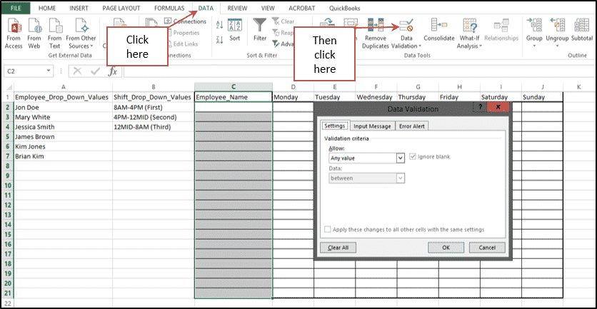 how to make a drop down choice in excel