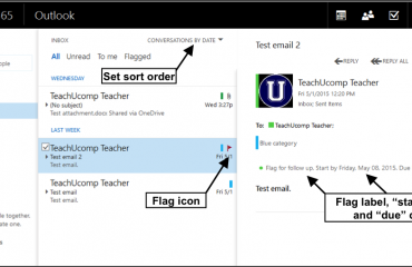 Flag Email in Outlook Web App- Tutorial: A picture of flagged email in the Outlook Web App.