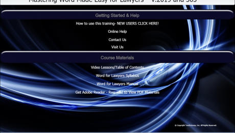 "Buy Word 2019 and 365 Training for Lawyers: A picture of the user interface for the DVD or digital download versions of our ""Mastering Word Made Easy for Lawyers v.2019 and 265"" training tutorial."