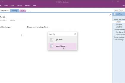 Insert File Attachments in OneNote - Instructions: A picture of a user inserting external file attachments into a OneNote notebook.