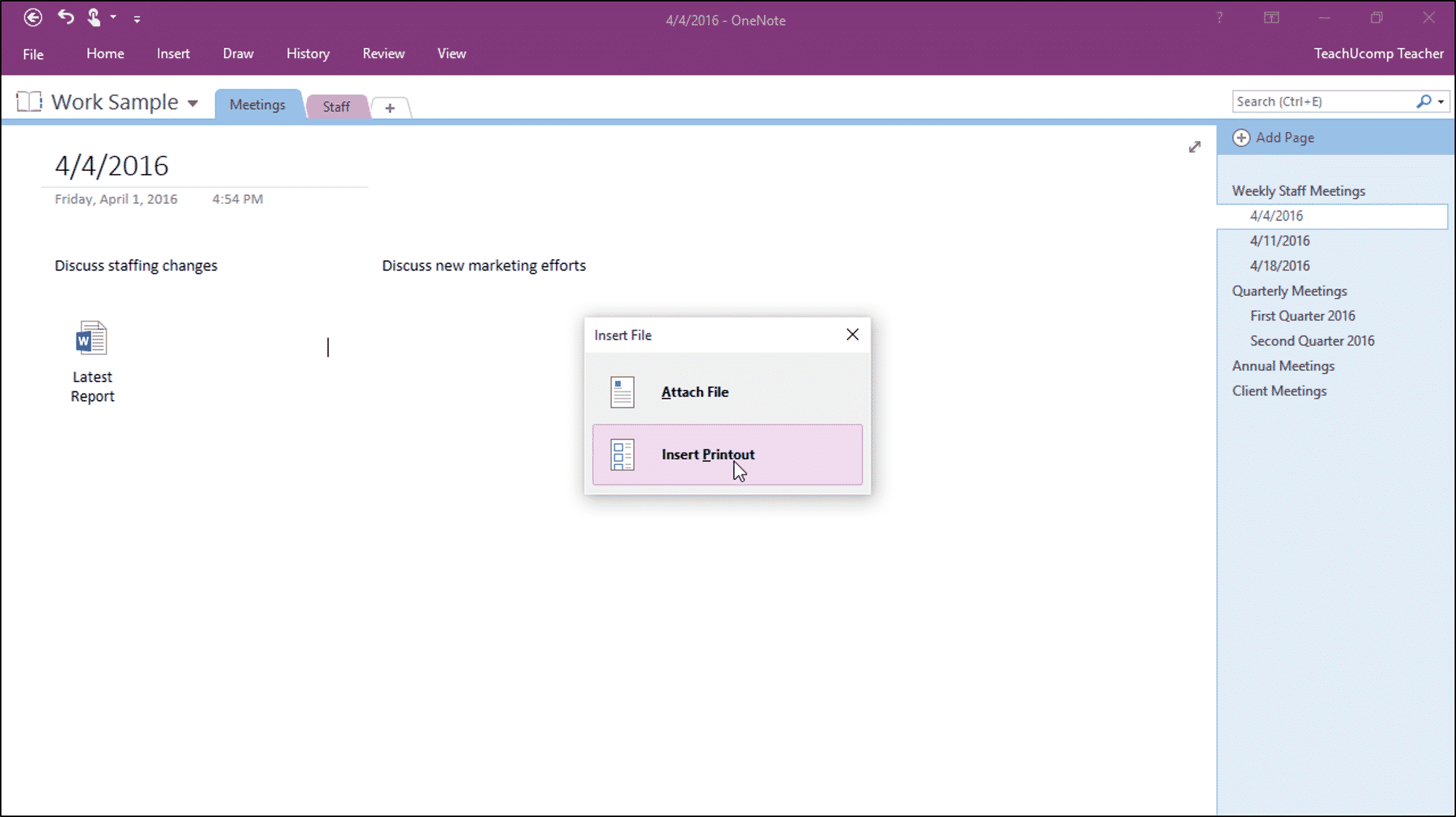 Insert File Attachments in OneNote - Instructions - TeachUcomp, Inc