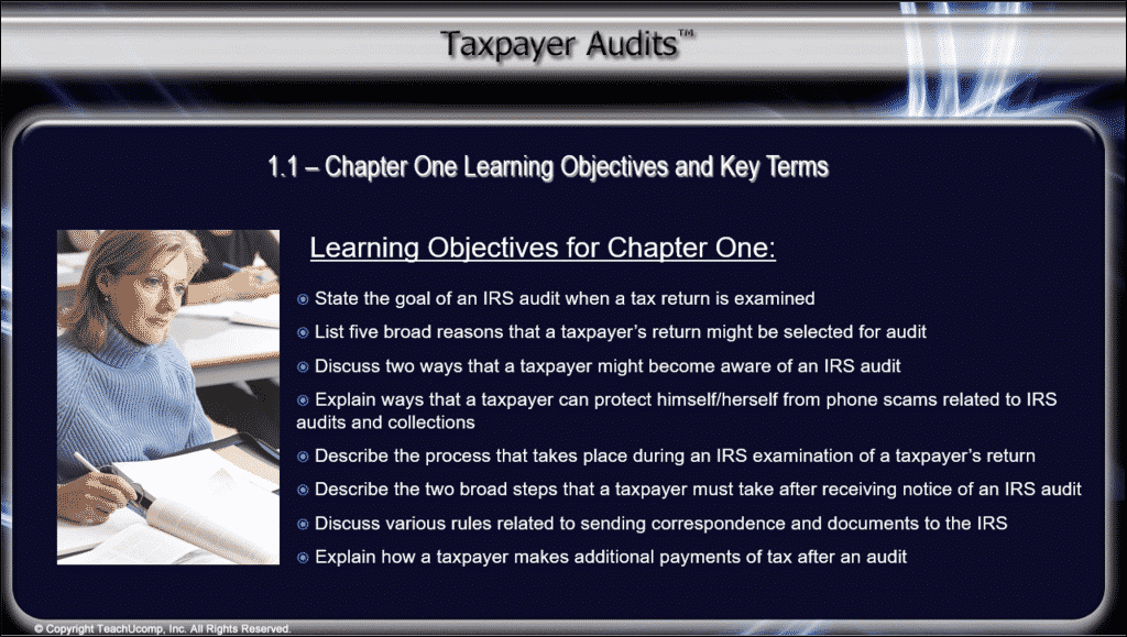 """Taxpayer Audits CPE Training Released: A picture from a video lesson within the """"Taxpayer Audits"""" CPE course that lists the learning objectives for Chapter 1."""