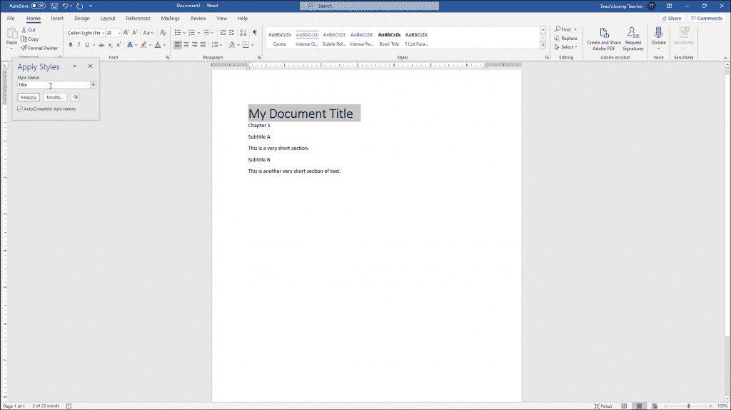 """Apply Styles in Word - Instructions: A picture of the """"Apply Styles"""" pane in Word for Office 365."""