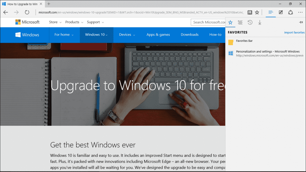 Information about Windows 10: Microsoft Edge- A picture of the Microsoft Edge browser. The new Edge Hub that contains links to your Favorites, Reading List, History, and Downloads is shown at the right side of the browser window.