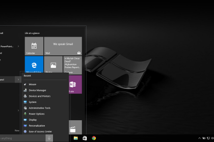 Information about Windows 10: Start Menu- A picture of a jump list for the Control Panel in the