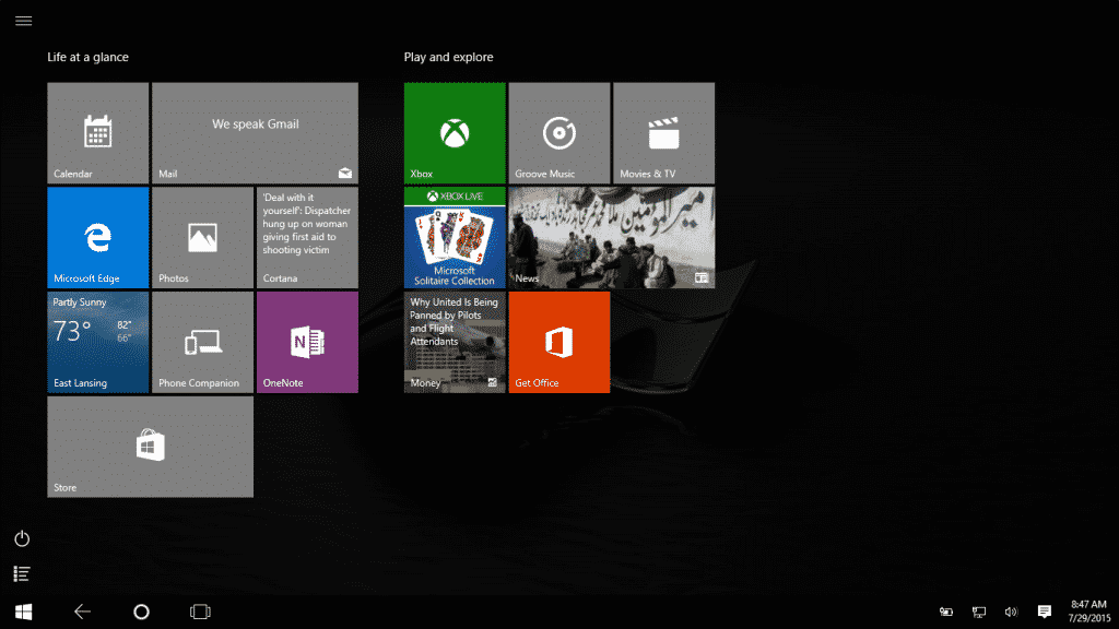 Information about Windows 10: Tablet Mode- A picture of the Start screen shown in the Tablet mode of Windows 10.