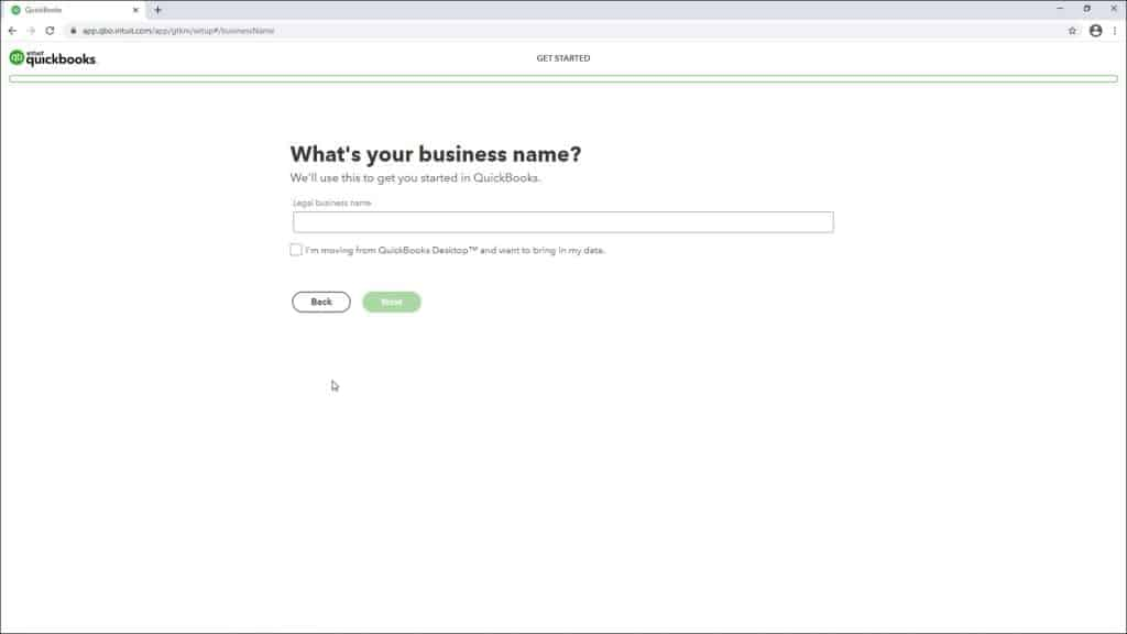 A picture of a user setting up QuickBooks Online by creating a new company file.