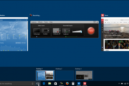 Virtual Desktops in Windows 10 - Tutorial: A picture of a user managing multiple virtual desktops in Windows 10.