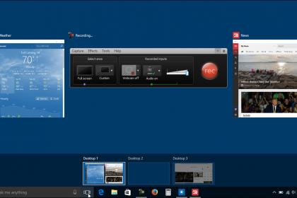 Virtual Desktops in Windows 10 - Tutorial: A picture of a user managing multiple virtual desktops in Windows 10.