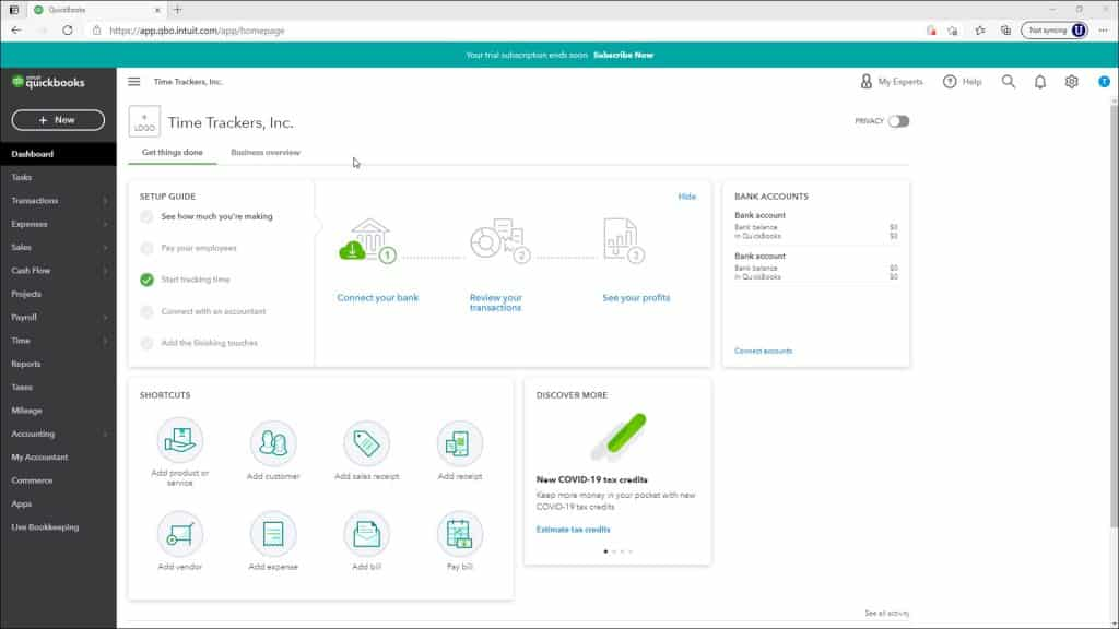 The Dashboard Page in QuickBooks Online- Instructions: A picture of the Dashboard page in QuickBooks Online.