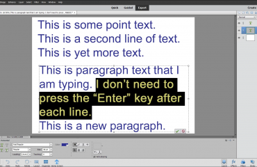 Select Text in Photoshop Elements- Instructions: A picture of a user selecting paragraph text within Photoshop Elements.