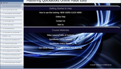 """QuickBooks Online Training: A picture of the training interface for the digital download or DVD-ROM versions of """"Mastering QuickBooks Online Made Easy"""" by TeachUcomp, Inc."""