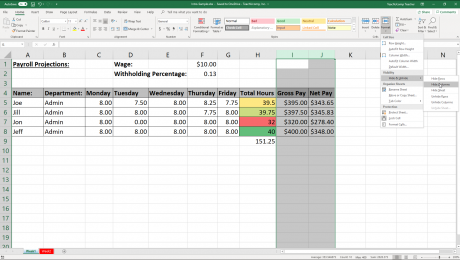 Hide Columns or Rows in Excel - Instructions: A picture of a user hiding selected columns in an Excel workbook.