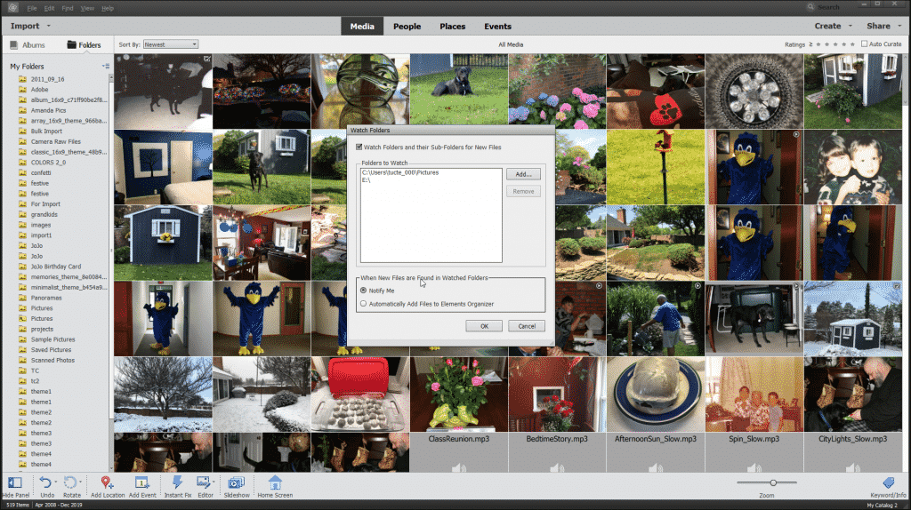 """Watch Folders in Photoshop Elements - Instructions: A picture of the """"Watch Folders"""" dialog box in Photoshop Elements."""