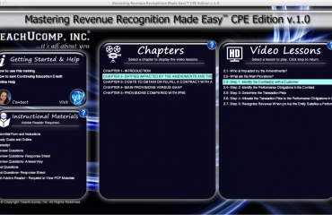 A picture of the training interface from the revenue recognition training titled