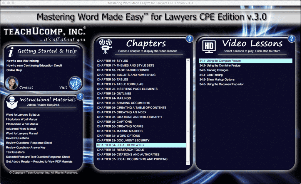 "Buy Word 2016 Training for Lawyers: A picture of the user interface for the DVD or digital download versions of our Word 2016 training for lawyers, titled ""Mastering Word Made Easy for Lawyers CPE Edition v.3.0."""