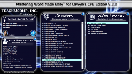 Buy Word 2016 Training for Lawyers: A picture of the user interface for the DVD or digital download versions of our Word 2016 training for lawyers, titled