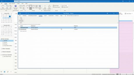 A picture of a meeting organizer tracking meeting attendance in Outlook.