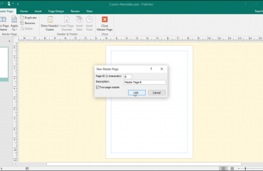 Master Pages in Microsoft Publisher - Tutorial: A picture of a user creating a new master page in Publisher.