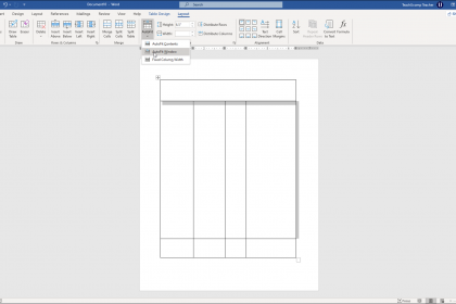 """Adjust Row Height and Column Width in Word Tables- Instructions: A picture of a table in Word being adjusted by using the """"AutoFit"""" button in the """"Layout"""" tab of the """"Table Tools"""" contextual tab in the Ribbon of Word."""